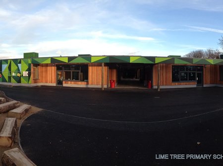 Lime Tree Primary school, over 700 different coloured triangles cut from 8mm trespa.