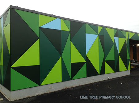 Lime Tree Primary school, over 700 different coloured triangles cut from 8mm trespa